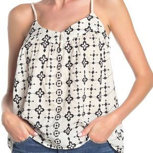 Lucky Brand Geo Embroidered tank ivory XL NWT